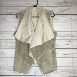 Bishop & Young Faux Suede Cream Taupe Vest Size S